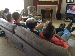 Family and friends watching TV while waiting for food. My 50th was a great birthday!