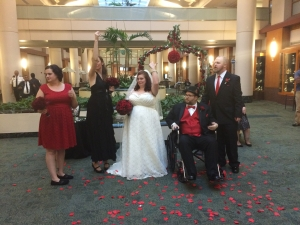 John and Lindsey with loved ones. The wedding was held in one of the big open spaces of MD Anderson. Very touching ceremony.